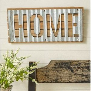 NWT! Galvanized and Wood Home Sign Wall Decor